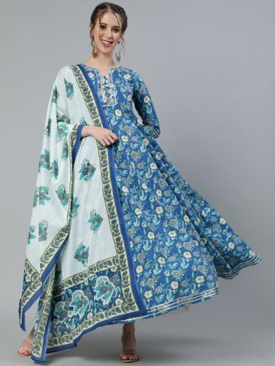Blue & White Floral Printed Flared Maxi With Dupatt Set