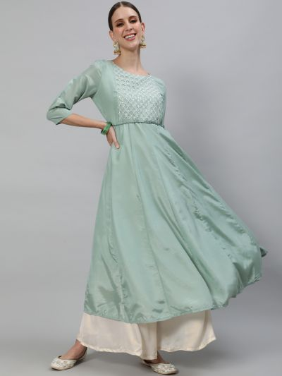 Pastle Green Flared Anarkali With Yoke Embroidered work