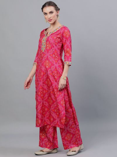Pink & Orange Bandhani Printed Straight Kurta With Palazzo Set