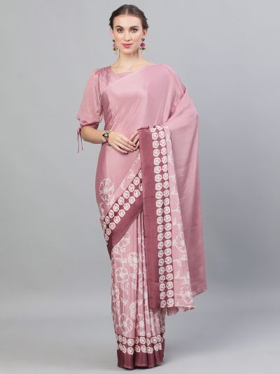 Rose Gold Khari Printed Saree With Stitched Blouse