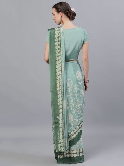Green Gold Khari Printed Saree With Stitched Blouse