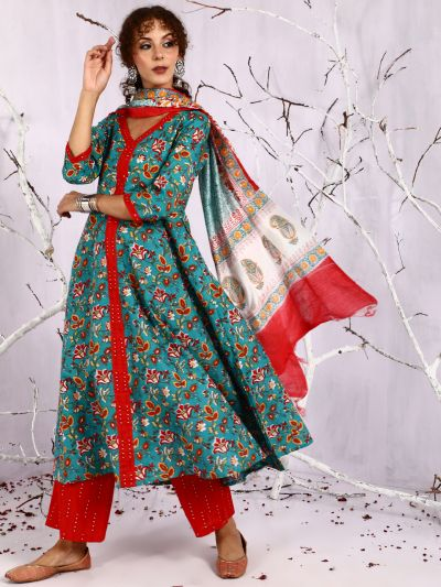 Green & Red Floral Printed Anarkali & Palazzo With Dupatta Set