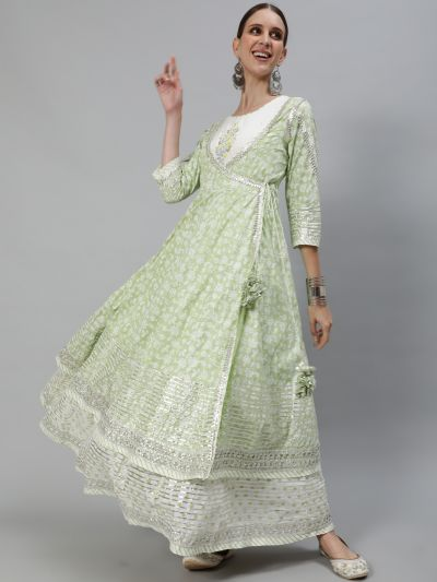 Pastle Green & White Printed Embroidery Yoke Layered Maxi With Gotta Law