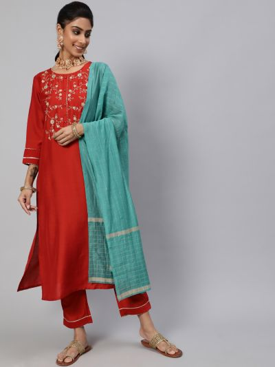 Red Dobby Design Embroidered Kurta & Pant With Blue Dupatta Set