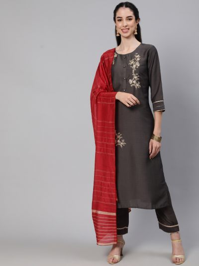 Charcoal Grey Dobby Design Embroidered Kurta With Pant & Red Dupatta Set