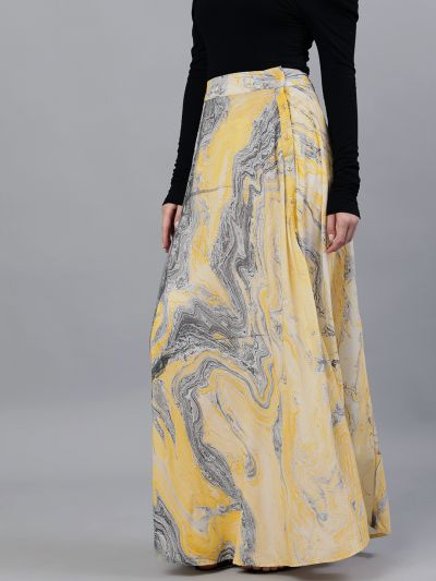 Yellow & Grey Marble Printed Flared Skirt