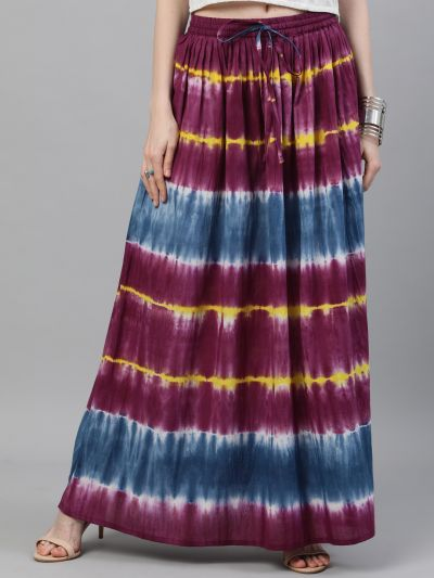 Purple  & Blue Tie and Dye Printed Flared Skirt