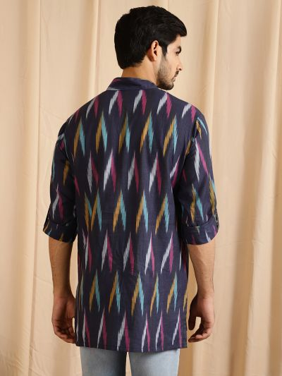 Navy Blue & Pink Ikat Woven Design Kurta With Roll-Up Sleeves