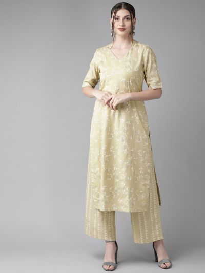 AKS Women Beige & White Printed Kurta with Palazzos