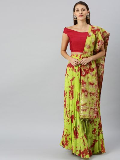 AKS Green & Magenta Pink Dyed Ready to Wear Lehenga & Blouse with Dupatta