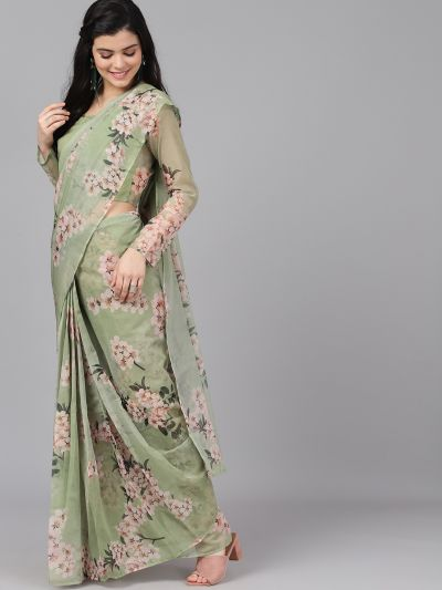 Pastel Green Floral Print Saree With Blouse