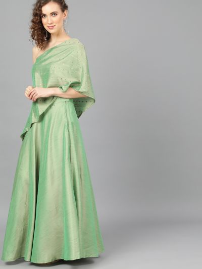 Green Dobby Design Lehenga With Cape Bluouse