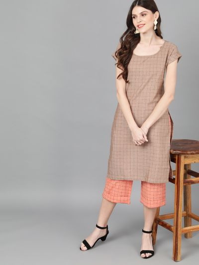 Brown Woven Design Kurta With Peach Palazzo