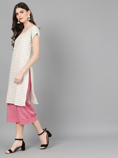 White Woven Design Kurta With Pink Palazzo
