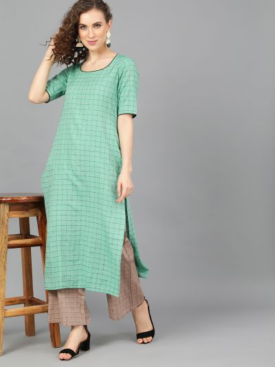 Green Woven Design Kurta With Brown Palazzo