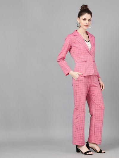 Pink Woven Design Jacket Pant Set