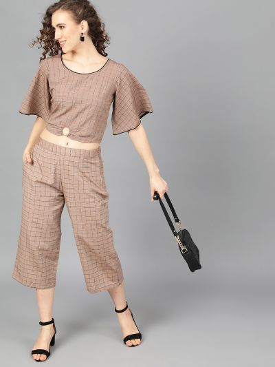 Brown Woven Design Top With Palazzo
