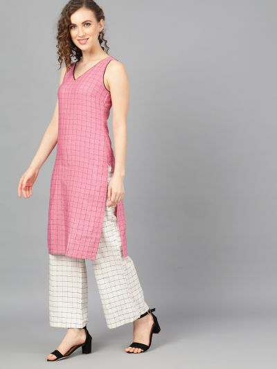 Pink Woven Design Kurta With White Palazzo