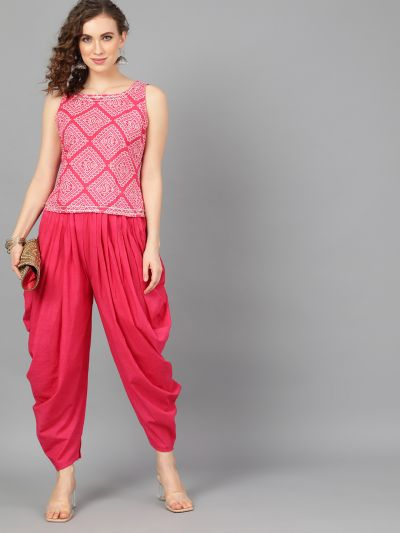 Magenta & White Bandhani Printed Top With Dhoti Pants Set