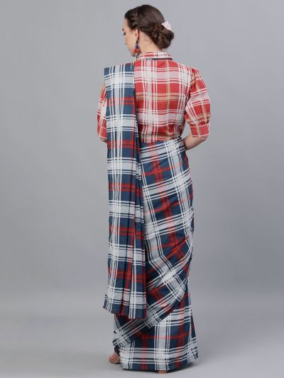 Blue & Red Checked Printed Saree With Shirt