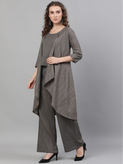 Grey Striped Woven design Asymmetric Jacket & Top With Palazzo Set