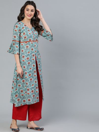 Green & Red Floral Printed Kurta With Solid Palazzo Set