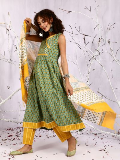 Green & Yellow Floral Printed Anarkali With Pant & Dupatts Set
