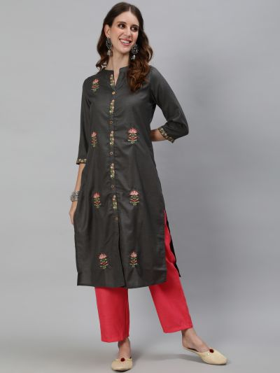 Grey Embroidered Straight Kurta With Solid Pant Set