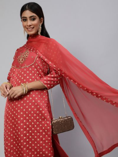 Red Embroidered Kurta & Pant With Solid Dupatta Set