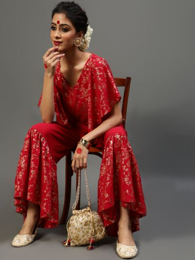 Red Gold Printed Crop Top With Flared Sleeve & Sharara Set
