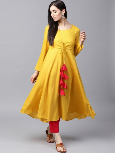 Mustard Solid Flared Anarkali With tussel details