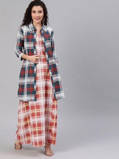 Checked Double Layer Maxi With Shirt