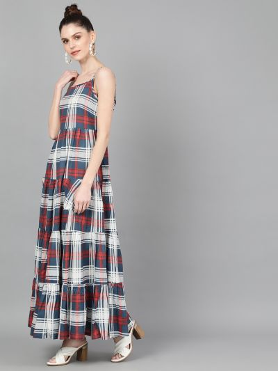 Blue & Red Checks Printed Tiered Maxi