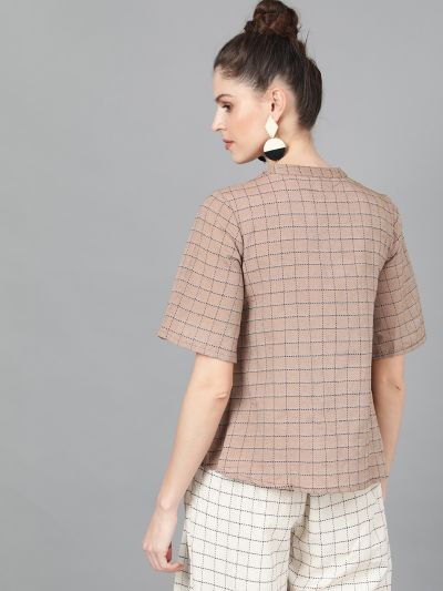 Brown Woven Design Top