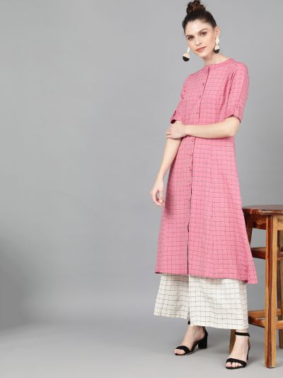 Pink Woven Design Button Down Kurta