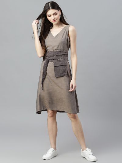 Grey Solid A-Line Dress With Belt