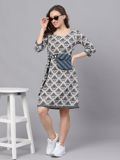 Grey & Blue Ikat Printed Shift Dress With Pouch