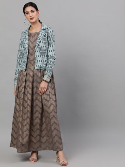 Grey & Gold printed maxi with jacket