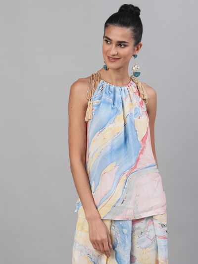 Blue & Yellow Marble Printed Top