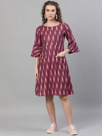 Burgundy Ikat handloom Woven Design A-Line Dress