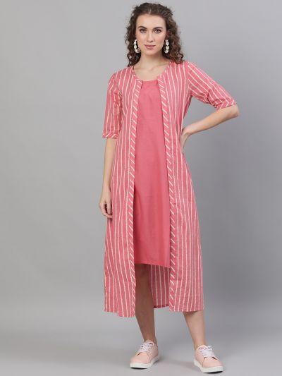 Pink Striped Printed Layered Dress