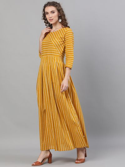 Mustard & White Striped Printed box Pleated Maxi
