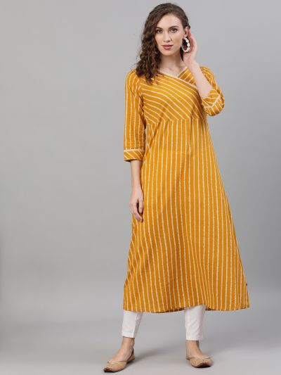 Mustard & White Striped Printed A-Line Kurta