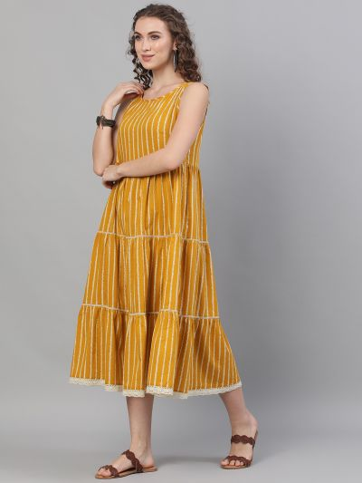 Mustard & White Striped Printed Tiered Midi Dress