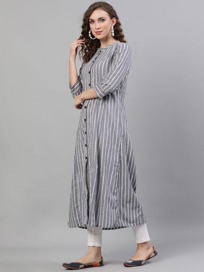 Grey & White Striped Printed Button Down Kurta