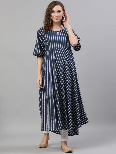 Navy Blue & White Striped Printed Flared Anarkali