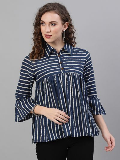 Navy Blue & White Striped Printed Tunic