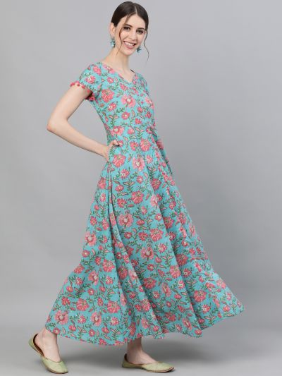 Peach & Yellow Floral Printed Flared Maxi