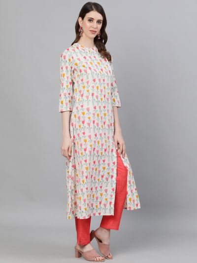 White & Red Floral Printed A-Line Kurta