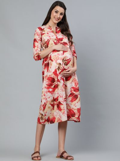 Red Floral Printed Maternity Dress